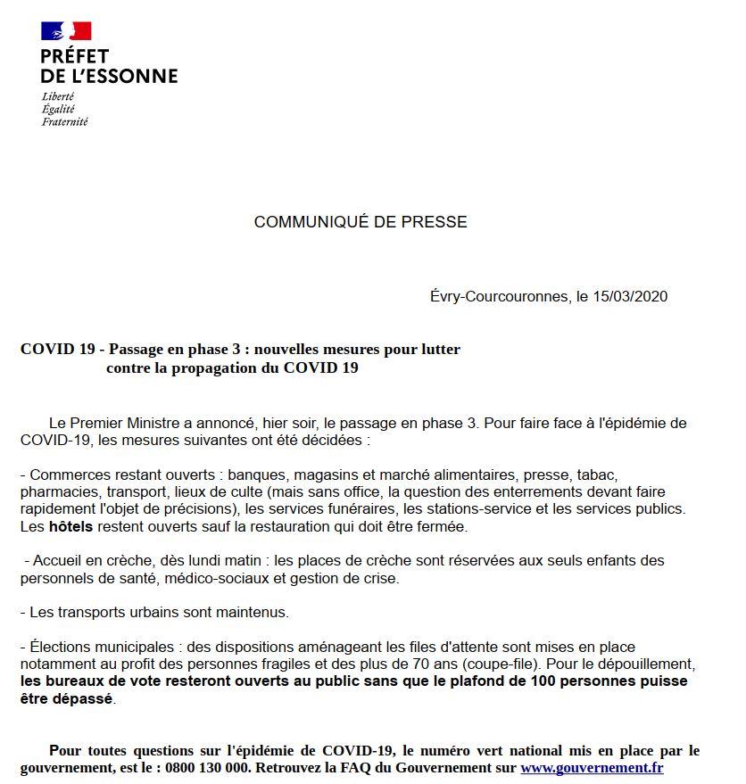 Lettre Préfecture de l'Essonne 14 03 20